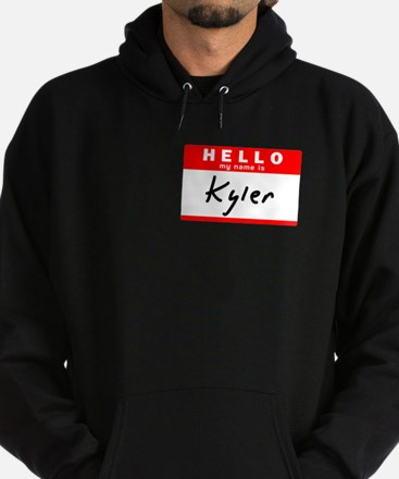 Kyler, Name Tag Sticker Hoodie (dark)