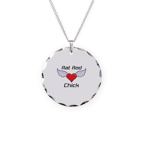 Rat Rod Chick Necklace Circle Charm