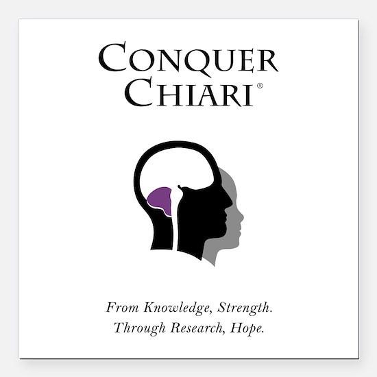 """Conquer Chiari Square Car Magnet 3"""" x 3"""""""