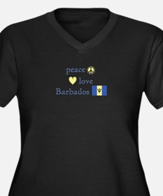 Peace, Love and Barbados Women's Plus Size V-Neck