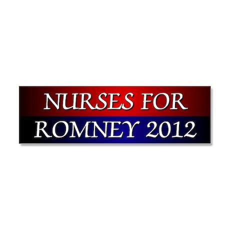 Nurses For Romney Car Magnet 10 x 3