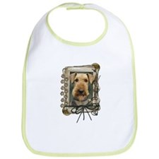 Fathers Day Stone Paws Airedale Bib