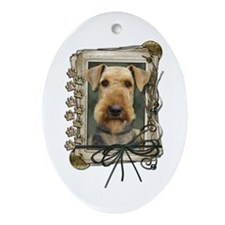 Fathers Day Stone Paws Airedale Ornament (Oval)