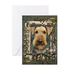 Fathers Day Stone Paws Airedale Greeting Card