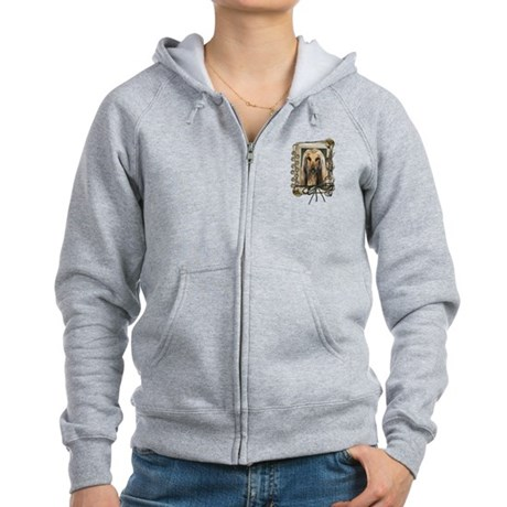 Fathers Day Stone Paws Afghan Women's Zip Hoodie