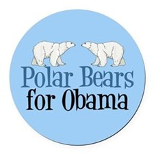 Polar Bears for Obama Round Car Magnet