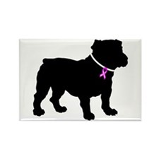 Bulldog Breast Cancer Support Rectangle Magnet