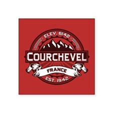 "Courchevel Red Square Sticker 3"" x 3"""