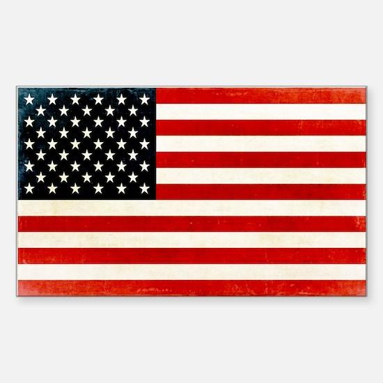 Vintage American Flag Sticker (Rectangle)