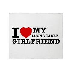 I love my Lucha Libre Girlfriend Throw Blanket