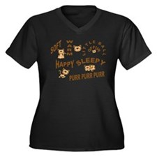 Cute Understated Women's Plus Size V-Neck Dark T-Shirt