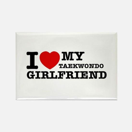 I love my Taekwondo Girlfriend Rectangle Magnet