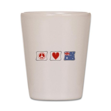 Peace, Love and Australia Shot Glass