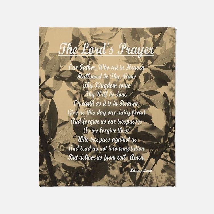 The Lords Prayer Vintage Throw Blanket