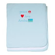 Peace, Love and Aruba baby blanket