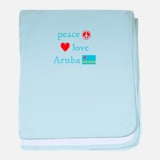 Peace, Love and Aruba baby blanket