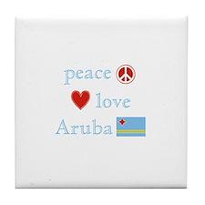Peace, Love and Aruba Tile Coaster