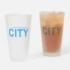 True Mancunians Support City Drinking Glass
