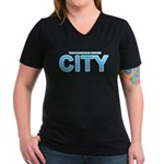 True Mancunians Support City Women's V-Neck Dark T