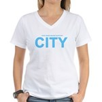 True Mancunians Support City Women's V-Neck T-Shir