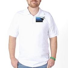 Break lines blu blk T-Shirt