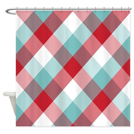 Red and Blue Diamond Plaid Shower Curtain
