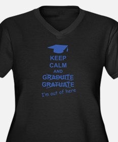 Keep Calm Graduate Women's Plus Size V-Neck Dark T