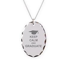 Keep Calm and Graduate Necklace Oval Charm