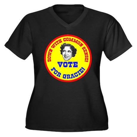 Vote for Gracie! Women's Plus Size V-Neck Dark T-S