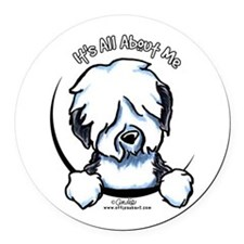 Old English Sheepdog IAAM Round Car Magnet