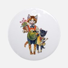 Cute Cats Bearing Gifts Ornament (Round)