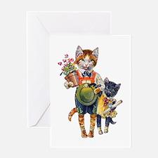 Cute Cats Bearing Gifts Greeting Card