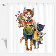 Cute Cats Bearing Gifts Shower Curtain