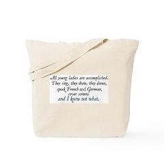 Jane Austen Accomplished Lady 3 Tote Bag