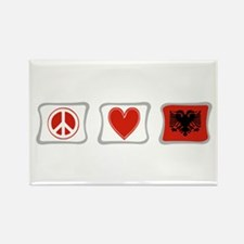 Peace, Love and Albania Rectangle Magnet