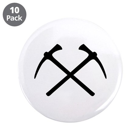 """Picks crossed pickax 3.5"""" Button (10 pack)"""