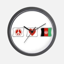 Peace, Love and Afghanistan Wall Clock