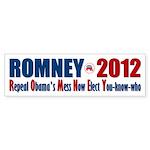 Romney 2012 Repeal Obama's Mess Sticker (Bumper 50