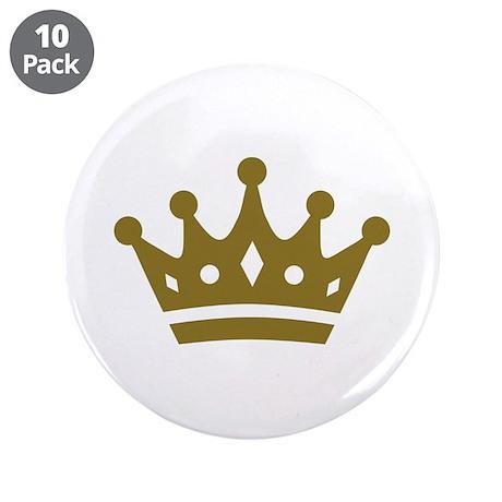 "Golden crown 3.5"" Button (10 pack)"