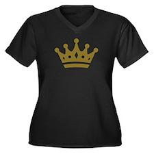 Golden crown Women's Plus Size V-Neck Dark T-Shirt