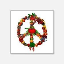 "Veggie Peace Sign Square Sticker 3"" x 3"""