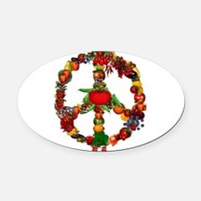 Veggie Peace Sign Oval Car Magnet