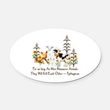 Pythagoras Vegetarian Quote Oval Car Magnet