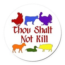 Thou Shalt Not Kill Round Car Magnet