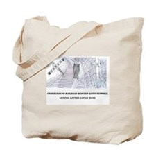 Kitty on the Tracks Tote Bag