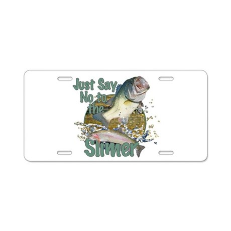 Bass not rainbow aluminum license plate by saltypro shop for Bass pro shop fishing license