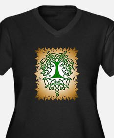 Celtic Tree of Life Women's Plus Size V-Neck Dark