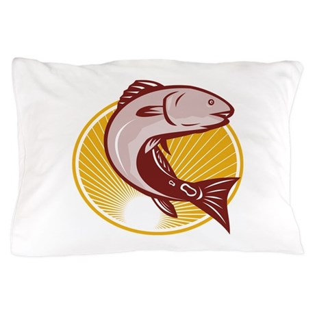 Red Drum Spot Tail Bass Fish Retro Pillow Case