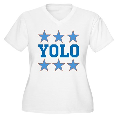YOLO Women's Plus Size V-Neck T-Shirt