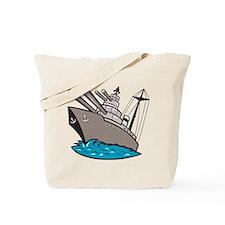 Warship Battleship Boat With Big Guns Tote Bag